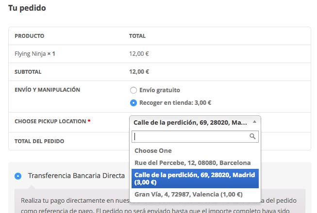 El plugin permite elegir varios puntos de recogida en el proceso de compra