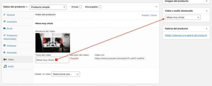 seleccionar video destacado woocommerce