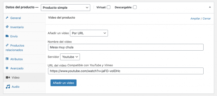 seleccionar video woocommerce