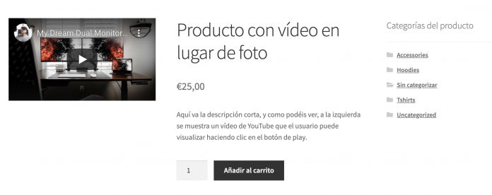 video en ficha producto woocommerce