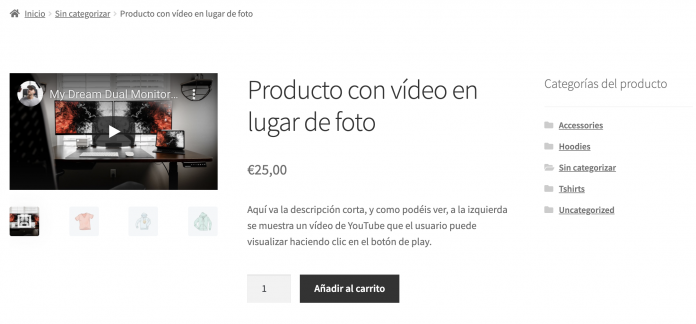 video en lugar foto woocommerce