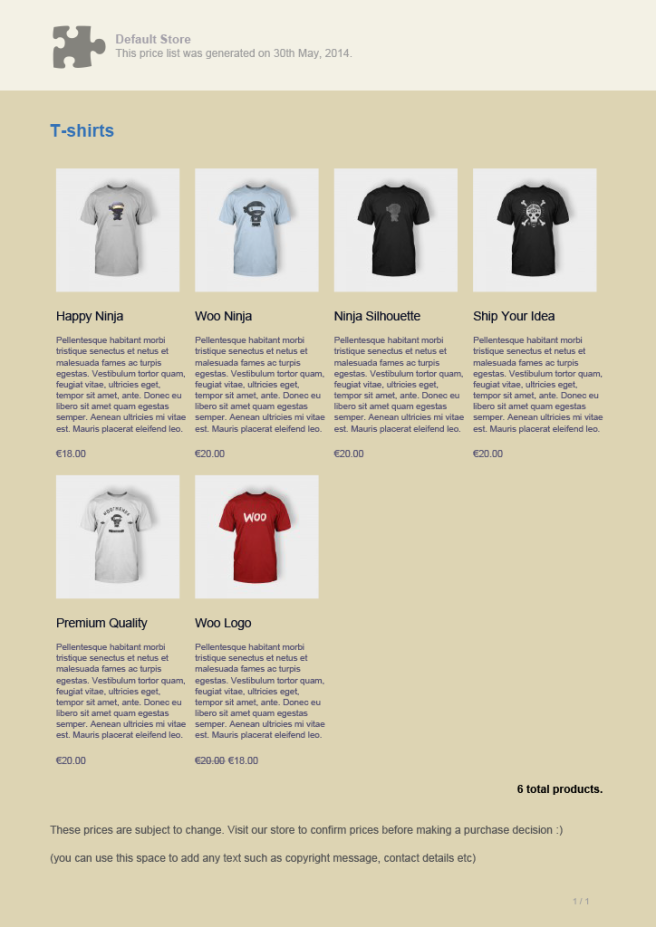 Ejemplo de un catálogo en PDF
