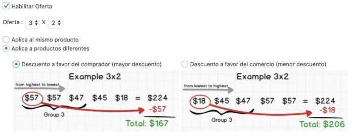 Podemos elegir el descuento del producto de precio más alto o más bajo
