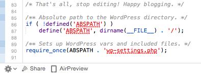 Últimas líneas del archivo wp-config.php