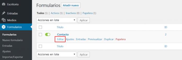 Editamos el formulario al que queremos añadir el checkbox