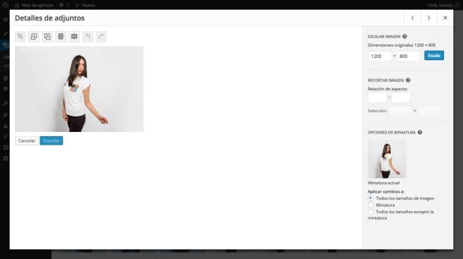 WordPress nos permite realizar algunas ediciones de imagen