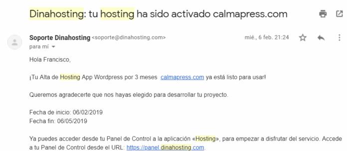 Email de DinaHosting