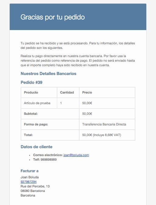 Versión en HTML del correo de WooCommerce