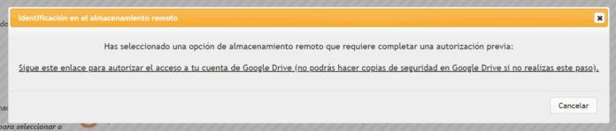 Enlace autorización Google Drive