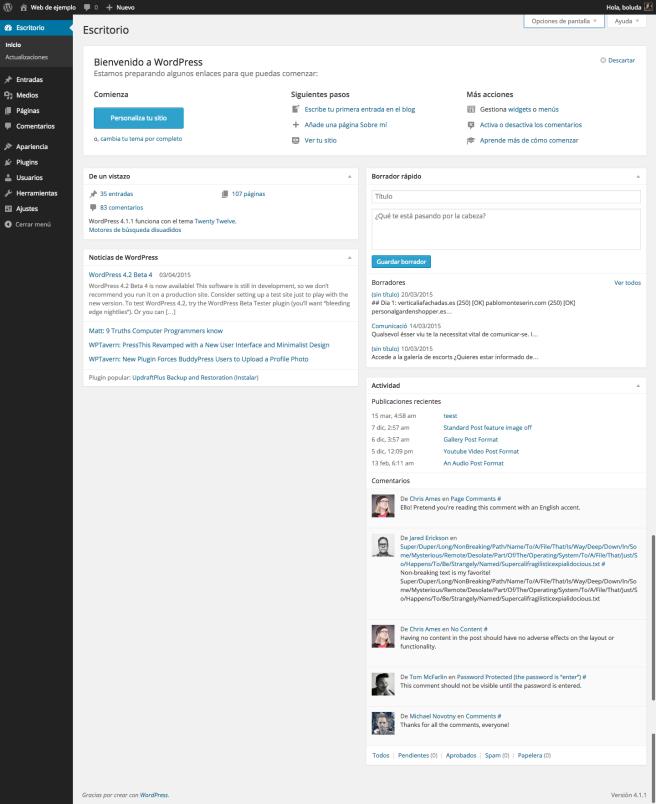 Esto es lo que vemos en el escritorio de WordPress 4.1