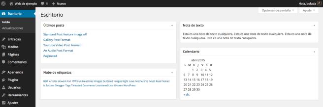 Escritorio personalizado con los widgets de WordPress