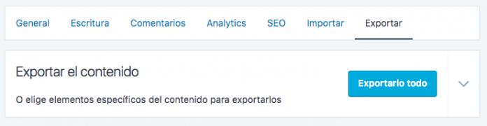 Podemos exportar todo nuestro contenido