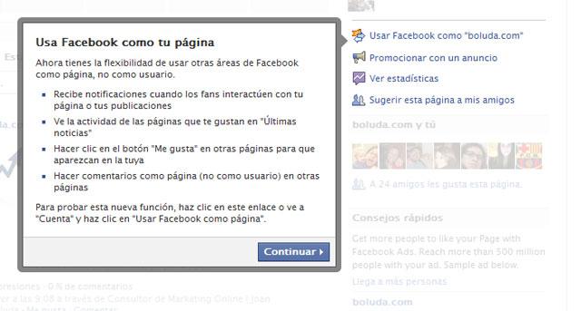 Interactuar en Facebook como página
