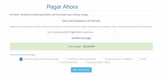 Formas de pago de Raiola NetWorks