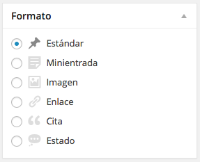 Formatos para las entradas en WordPress