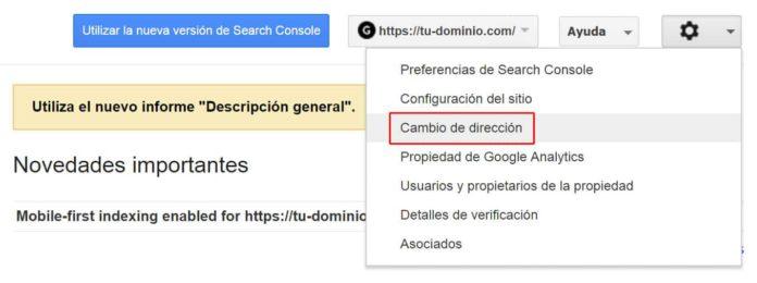 Cambio de dirección en Search Console