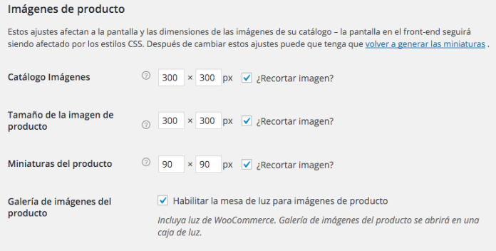 Podemos elegir el tamaño de la imagen en cada página de la web