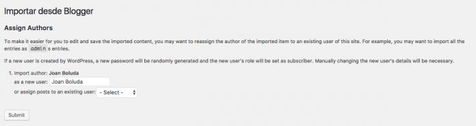 Podemos importar autores o asignar algunos nuevos