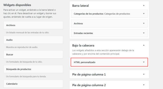 """Añadir widget HTML personalizado a widget area """"Bajo la cabecera"""""""