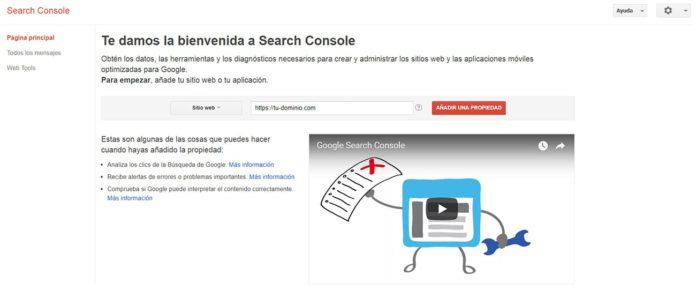 Añadir propiedad / sitio en Google Search Console