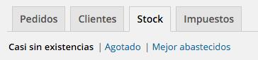 El informe de bajo stock es el que aparece por defecto