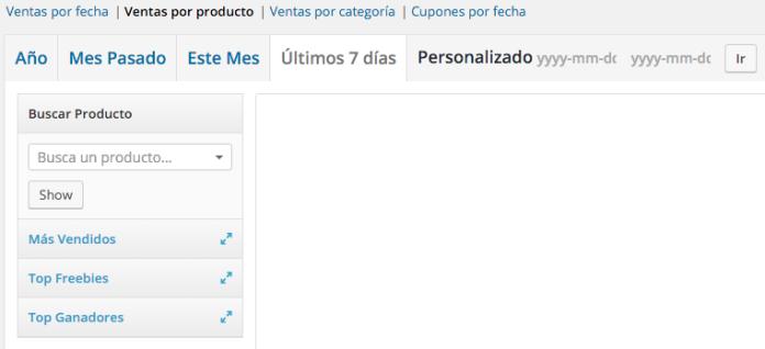WooCommerce nos permite filtrar el informe de ventas por producto