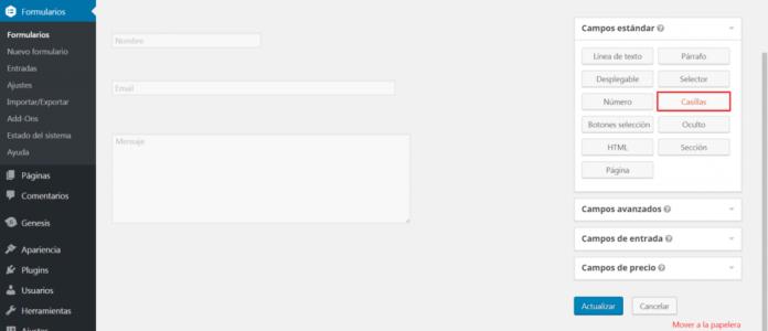 insertar campo casilla formulario