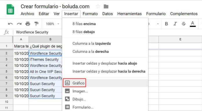 Seleccionar datos e insertar gráfico Google Sheets