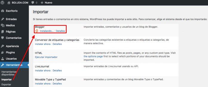Instalamos el importador de Blogger