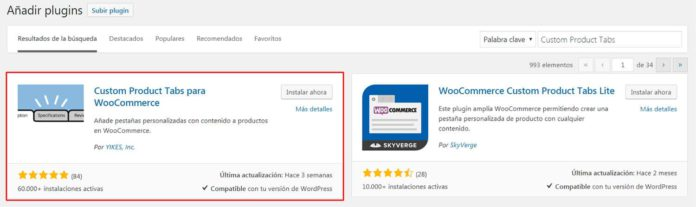 Instalar plugin Custom Product Tabs for WooCommerce