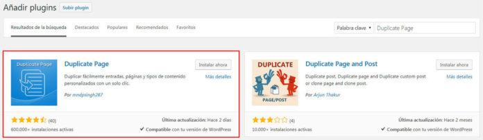 Instalar plugin Duplicate Page