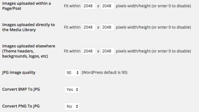 El plugin nos permite limitar dimensiones, tamaño, calidad y formato