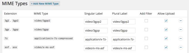 Podemos seleccionar que tipo de archivos se puede subir, e incluso filtrar