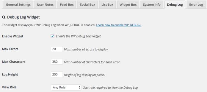 Opciones de configuración del widget de debug