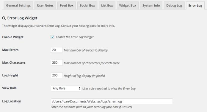 Opciones de configuración del widget de errores