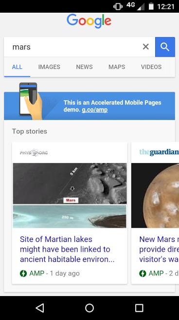 Google ya identifica y marca las páginas AMP