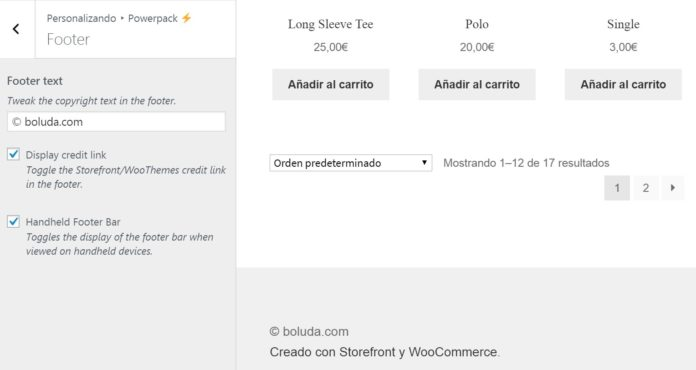 Modificar footer Powerpack WooCommerce