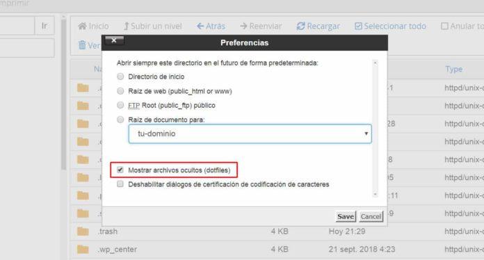 Mostrar archivos ocultos en administrador archivos cPanel