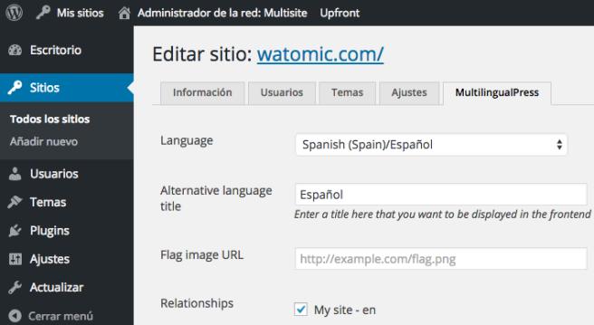 En las preferencias del site, debemos indicar en qué idioma está, y con que site debemos conectarlo