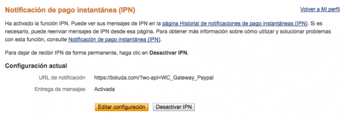 Activamos la IPN e indicamos la URL