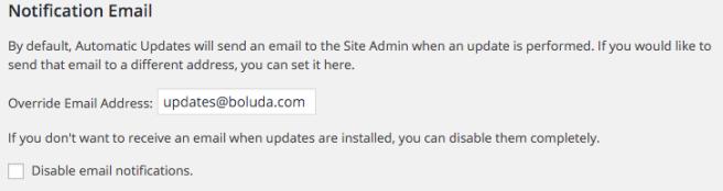 Podemos elegir si recibir las notificaciones, y a qué correo