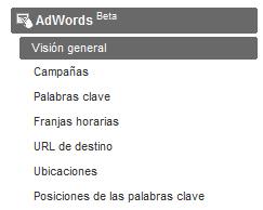 Nuevo menú AdWords en Analytics