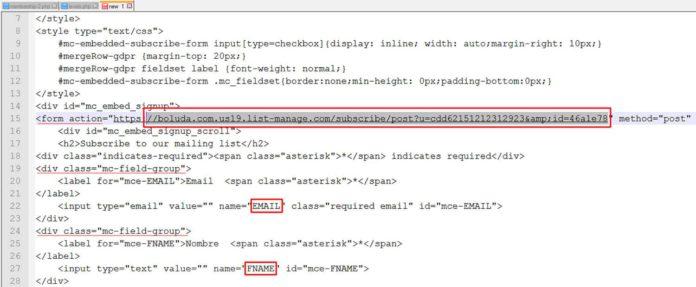 Obtener datos de configuración en MailChimp