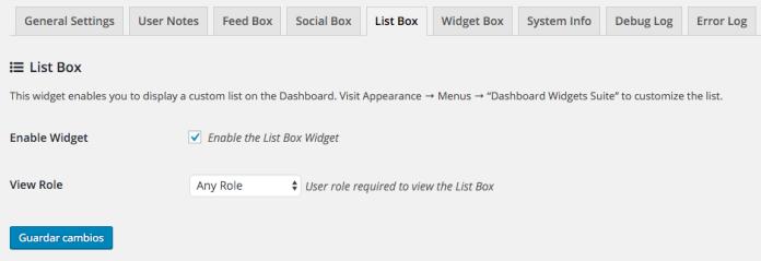 Las opciones nos permiten activar el widget y quién lo puede ver