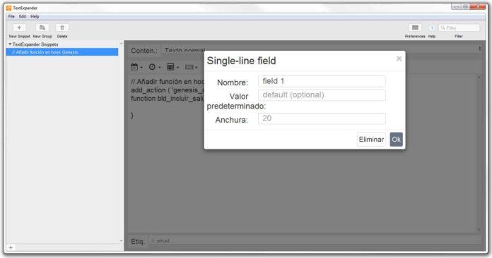 Opciones campos rellenables Single-line filed
