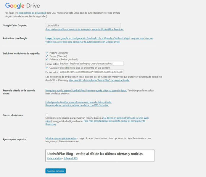 Opciones configuración backups Google Drive