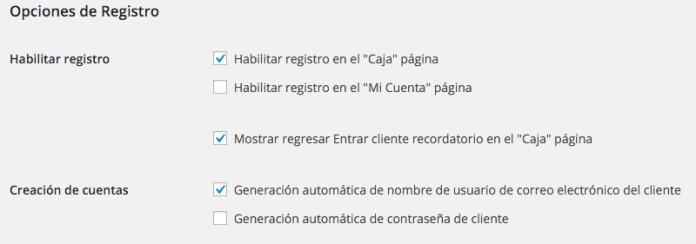 Las opciones de registro en WooCommerce nos brindan 5 ajustes