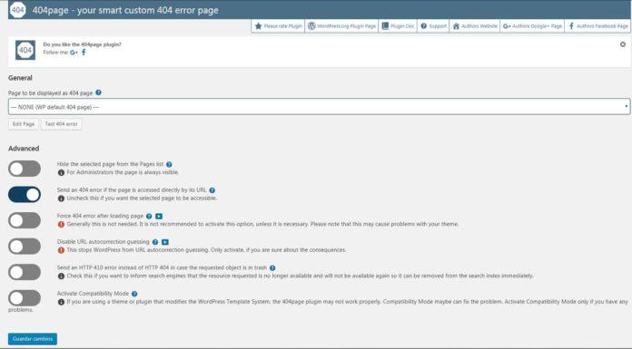 Opciones configuración plugin 404page