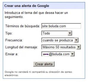 Operador site: en alertas de Google