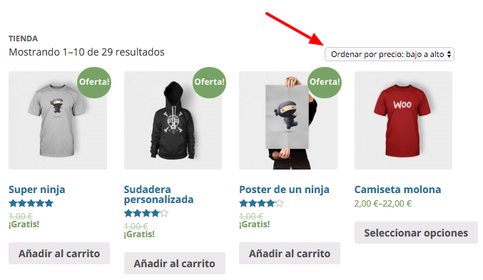 Desplegable para ordenar los productos en WooCommerce